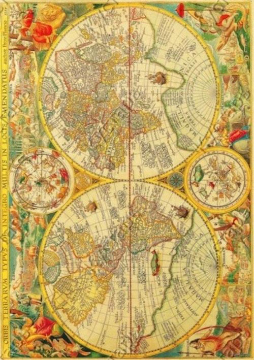 """Бумага для декупажа рисовая """"Старинная карта мира"""""""