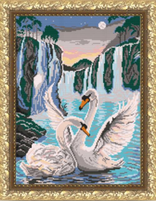 Лебеди у водопада