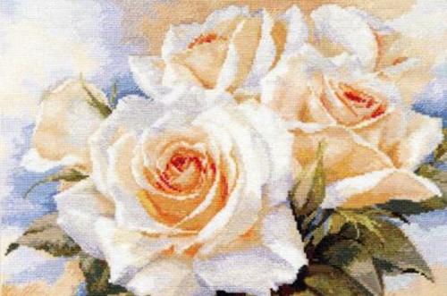 """Вышивка """"Белые розы"""" 2-32"""