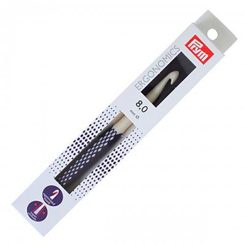 218490 Крючок для вязания, пластик, эргономик, 8мм х 17см