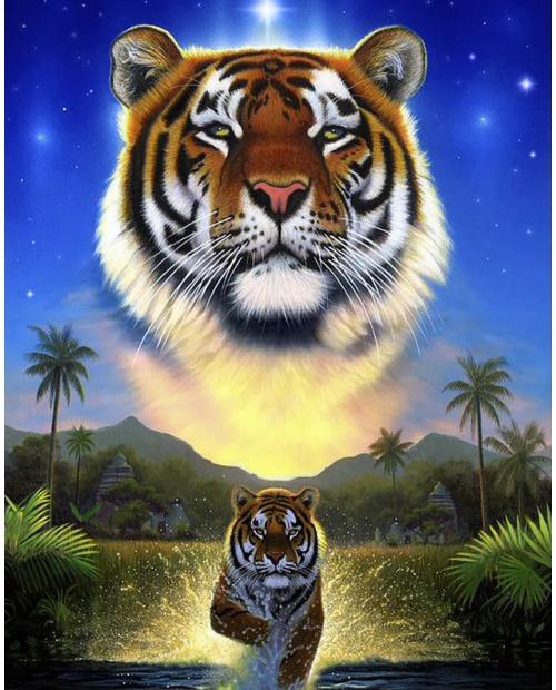 """Тигр озера"" - Картина стразами (набор), 38х48 см, WD2411"