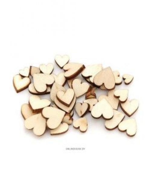 841-DB Деревянные чипборды Сердечки мини 0. 6-1. 2 см 50 штук