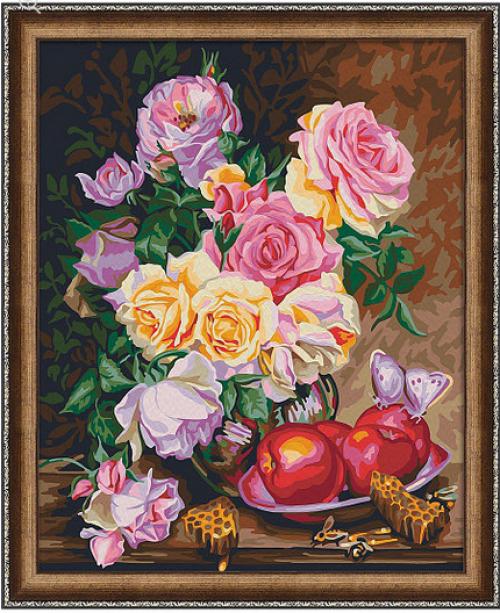 """Раскраска по номерам """"Розы и мед"""" 7С-0162"""