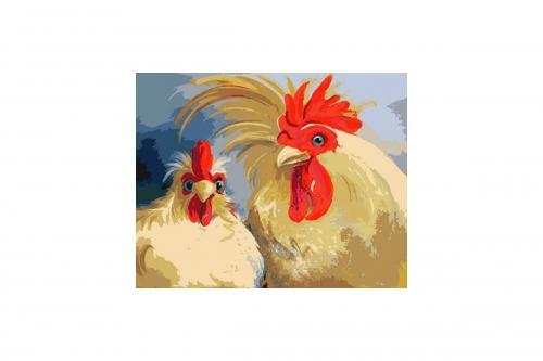 """Раскраска по номерам """"Кочет и курица"""" 16130052"""